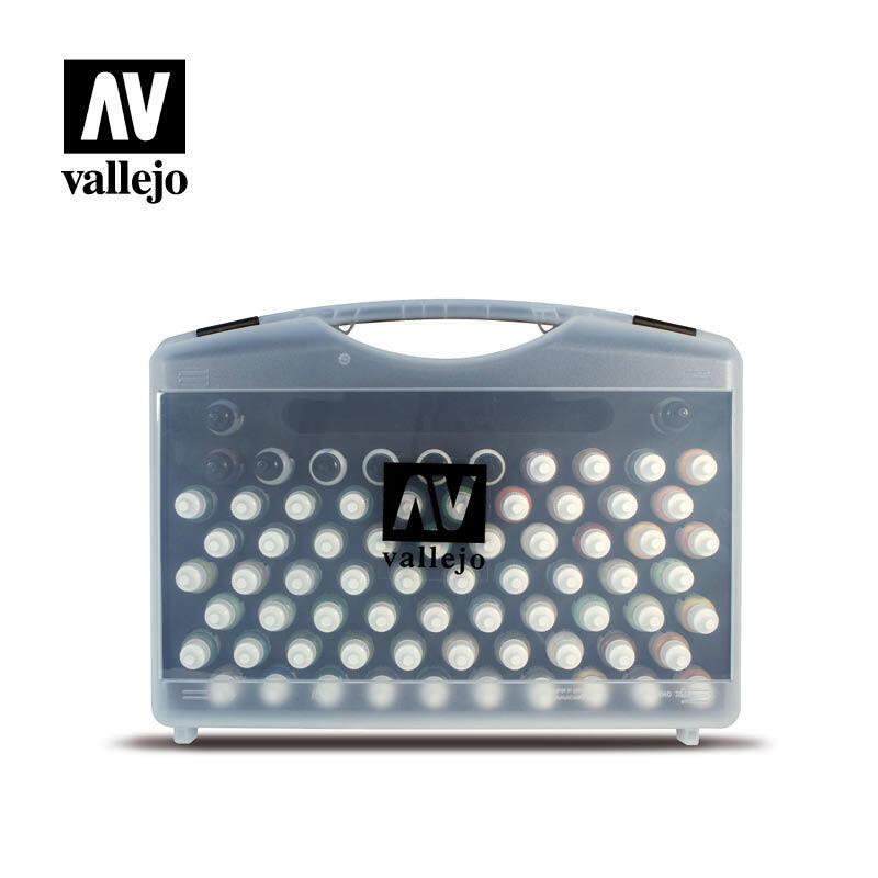 AV Vallejo 70173 Förlaga Färgmilitär Range låda Set 74 -färger 3 Brush &Case