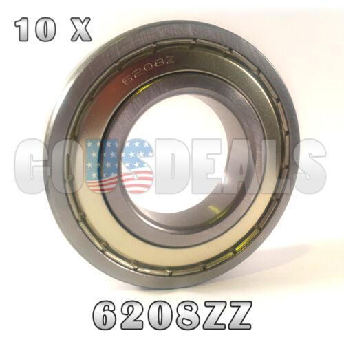 6208Z 6208ZZ 6208 Z 6208 ZZ Deep Groove Ball Bearing 40mm x 80mm x 18mm 10 Pcs