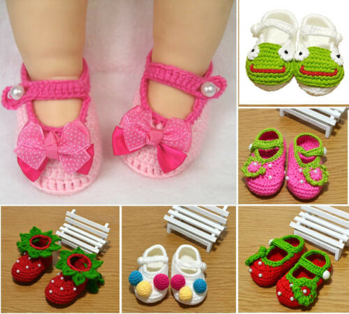 Baby Infant Girl Newborn Handmade Flower Crochet Knit Crib Shoes Cack Prewalkers