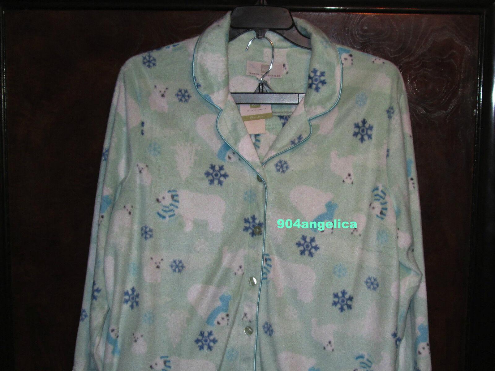 Karen Neuburger Long Sleeved Pajama Pants Set Plus Polar Bears 1X NWT