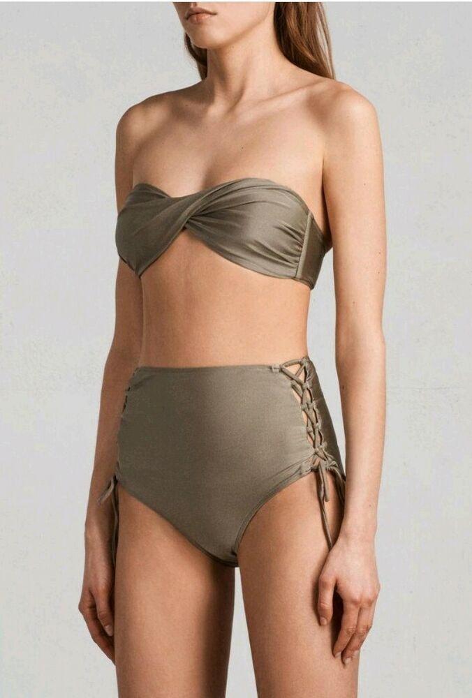 All Saints Lazo Twist Métallique Bikini Planet Gris Taille S, 8-10 Uk
