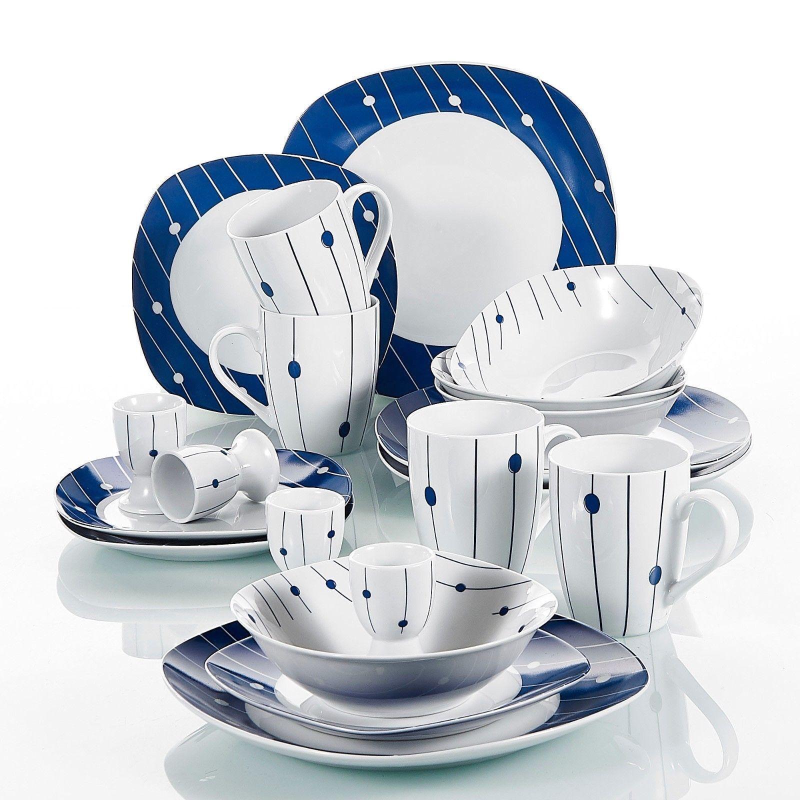 20Pcs Set da cena completi in ceramica piatti stoviglie stoviglie che serve tavolo e sedie per sala da pranzo