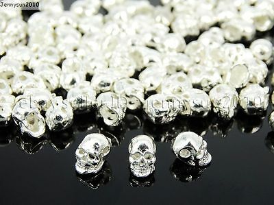 Side Drilled Metal Skull Bracelet Necklace Earring Craft Connector Charm Beads