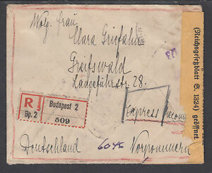 Hungary Sc 316/329 used 9 stamps on 1920 REGISTERED & CENSORED Cover to Germany