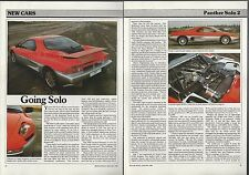 1988 PANTHER SOLO 2 Road Test article, Panther Solo 2 from British auto magazine