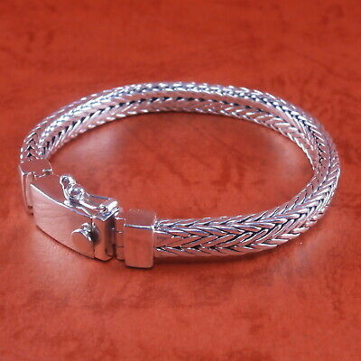 "Handmade 925 Sterling Silver Foxtail Franco Wheat Bracelet Bali Style 7.5/"" 53g"