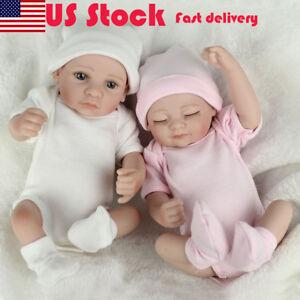 2PCS-Twins-Full-Body-Silicone-Vinyl-Boy-Girl-Handmade-Baby-Reborn-Xmas-Gifts-New