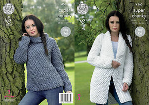 489603191 Image is loading King-Cole-4363-Knitting-Pattern-Jacket-and-Sweater-