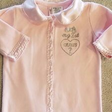BABY GUESS 0-3 MONTH PINK & SILVER FOOTED SLEEP N PLAY OUTFIT ADORABLE