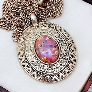 Vintage-Rose-Pink-amp-Gold-Glass-Fire-Opal-Flapper-Style-Gold-Pendant