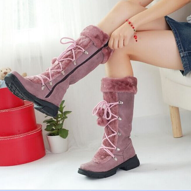 Women's Knee High Boots Platform Lace Up with Pom Fur Top Trim Snow shoes Hot