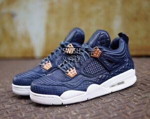 8d96f43294c6 Nike Air Jordan Retro 4 PINNACLE SNAKESKIN OBSIDIAN NAVY BLUE 819139 ...