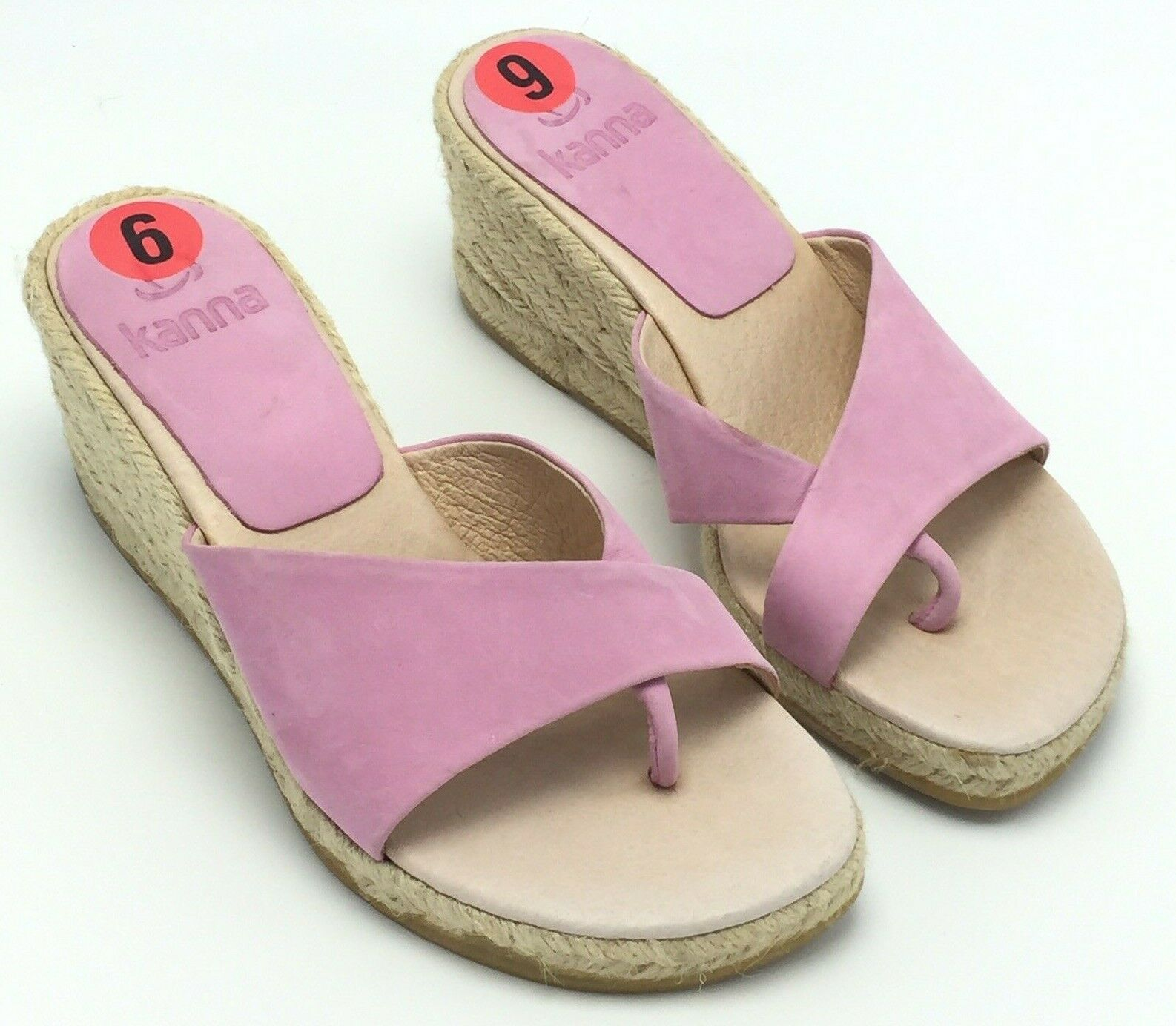 New Kanna Size 6 Womens Espadrille Wedge Pink Leather Slip On Between Toe 2.5