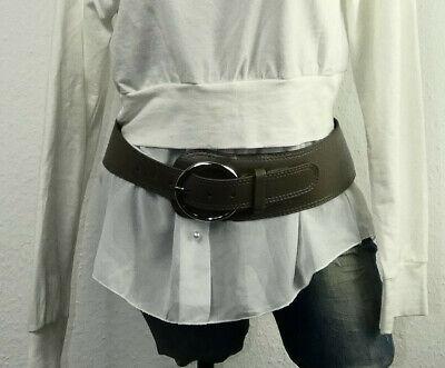 Damen Hüftgürtel PU-Leder Silber breit asymmetrisch silberne Schnalle