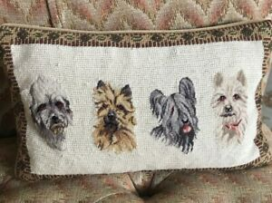 """Vintage Needlepoint Four Dog Themed Pillow - Rectangular, Velvet Backed 14.5x8"""""""