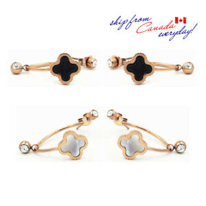 14K GP Mother of Pear Clover Dangle Stainless Steel CZ Front-Back Earring