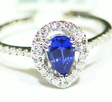 1.0CT 14K GOLD NATURAL SAPPHIRE ROUND CUT WHITE DIAMOND ENGAGEMENT RING VINTAGE