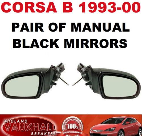Vauxhall Corsa B Puerta De Ala Negro Manual Par Espejos controladores y del lado del pasajero