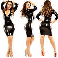 WOMEN'S BLACK DRESS PVC WET LOOK MINI MIDI VINYL LEATHER BODYCON CLUBWEAR M-XXL