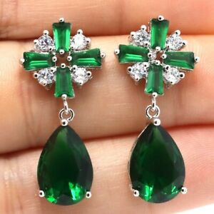 Vintage-Antique-Pear-Green-Emerald-Earring-Women-Jewelry-14K-White-Gold-Plated