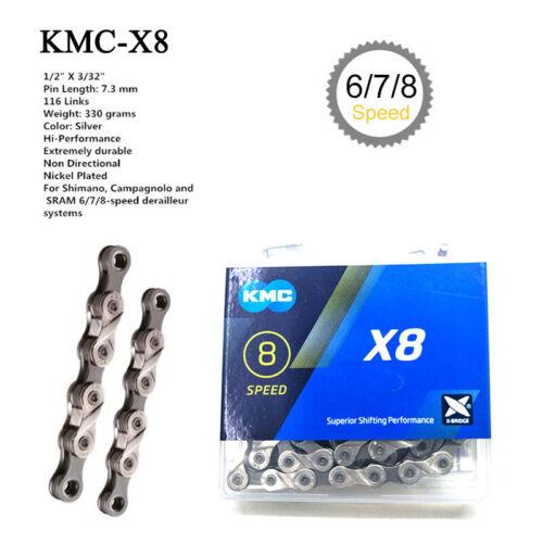 KMC 6//7//8//9 Speed 116Links Chain MTB Bike Cassette Sprocket Fit Shimano SRAM