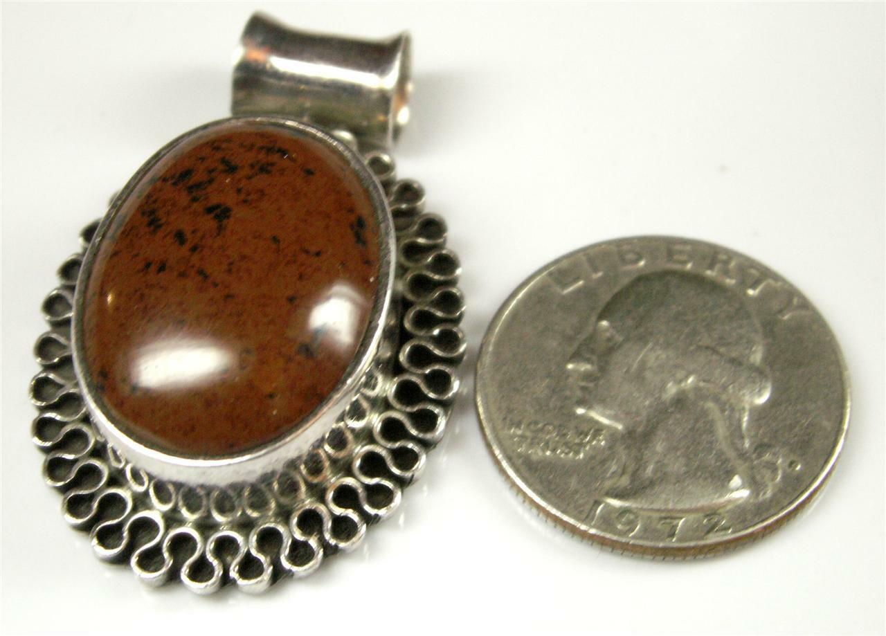 HUGE CHUNKYSterling Mexico 925 Red-Brown Obsidian Slider Pendant 20.25g BIG