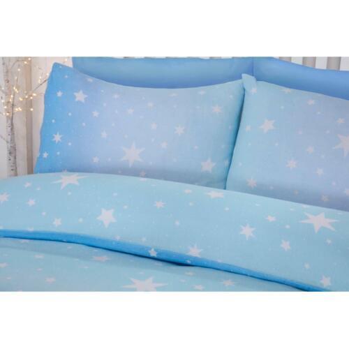 STARBURST Coton Brossé KING SIZE Parure de couette bleu glace Coucher Kids