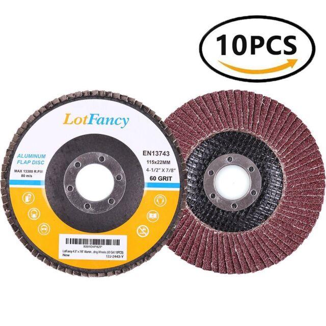 "60 Grit Flap Sanding Discs Wheel Grinding Angle Grinder 4.5"" 7/8"" ALUMINUM OXIDE"