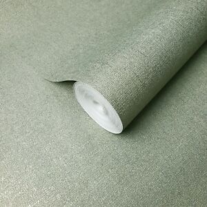 Wallpaper-olive-green-metallic-plain-faux-sack-cloth-Textured-wallcoverings-roll