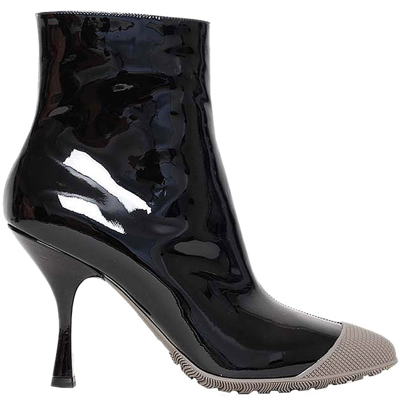 Casual salvaje Miu Miu heel ankle boots stivaletti + tg 37 grey + black nero + stivaletti grigio d5620d