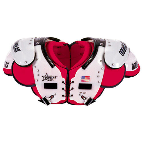 Game Worn Douglas QBK Adult Shoulder Pad Red//White Size Medium or Large