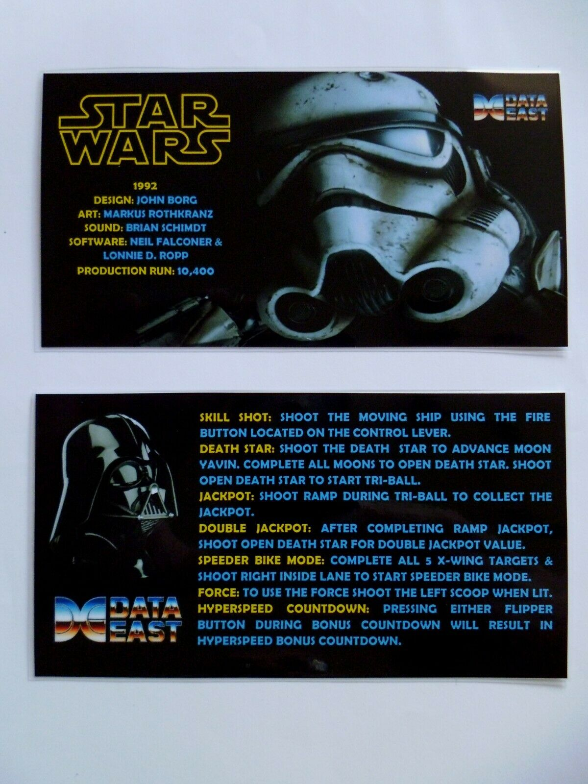 * 'STAR WARS' Data East 1992 Custom Instruction/Apron Cards * (New)