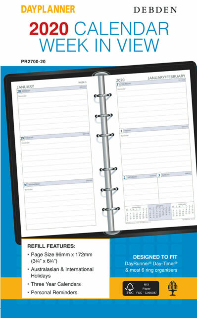 2020 Debden DayPlanner Refill Personal Week to View PR2700-20