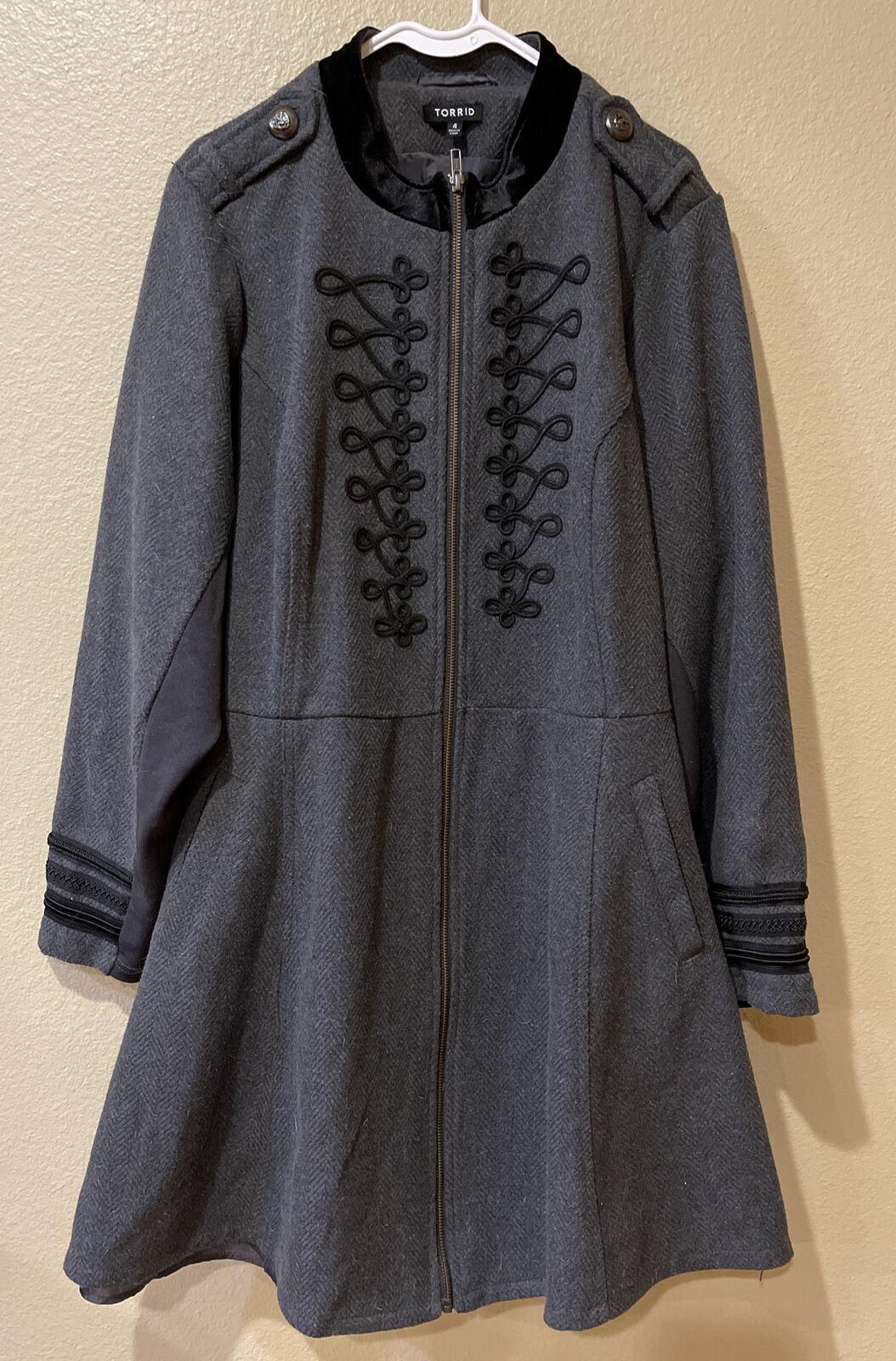 Torrid Size 4 Gray Women's Long Line Military Peplum Jacket Coat Victorian