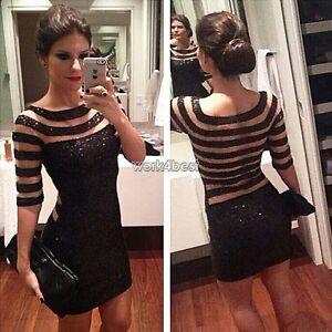 Womens-Sexy-Stripes-Club-Mesh-Bodycon-Mini-Dress-Transparent-Pencil-slim-Dress