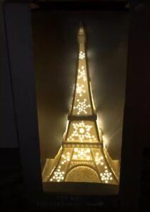 New Bella Lux Lighted Eiffel Tower Ceramic Bed Bathroom Paris France Theme Decor