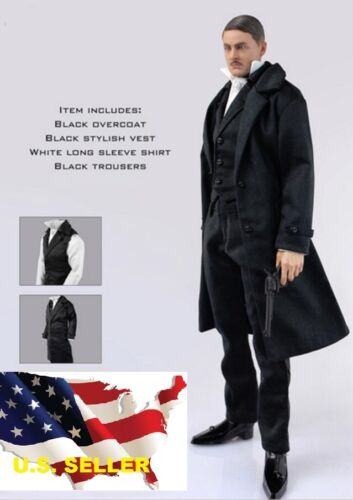 1//6 british detective men long coat Sherlock agent suit for hot toys ❶US seller❶