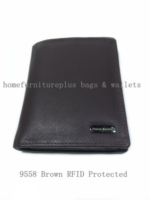 Franco Bonini Men New RFID Protected Genuine Leather 18Card Holder Bifold Wallet
