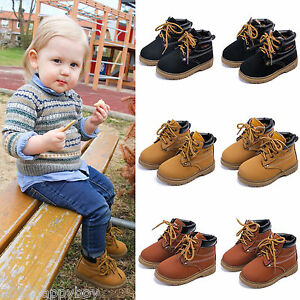 Fashion-Kids-Boys-Warmer-Martin-Boots-Toddler-Short-Boots-Shoes-Laces-Size-5-11