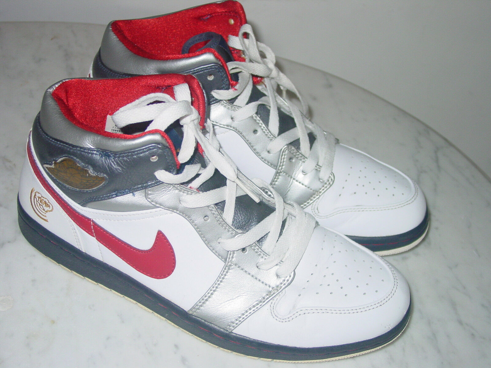 2008 Nike Air Jordan Retro 1  Olympic  White Varsity Red Navy shoes  Size 10.5