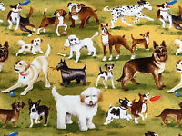Dog Park Dogs & Puppies At Play Toile Cotton Clothworks Fabric 2960 By The Yard