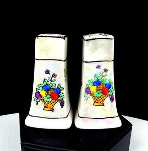 """JAPANESE PORCELAIN MOTHER OF PEARL FLOWER BASKET AND BUTTERFLIES 2 3/4"""" SHAKERS"""