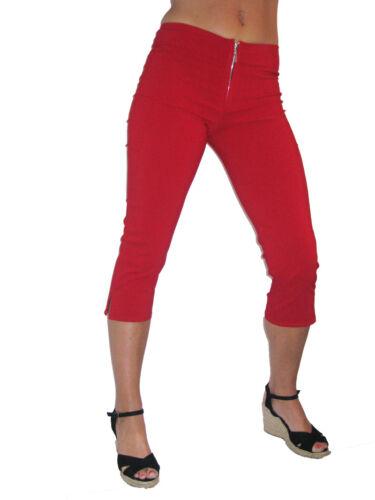 Mesdames Court Moulante Pantalon Silver Zip Casual Rouge Nouveau 6-18