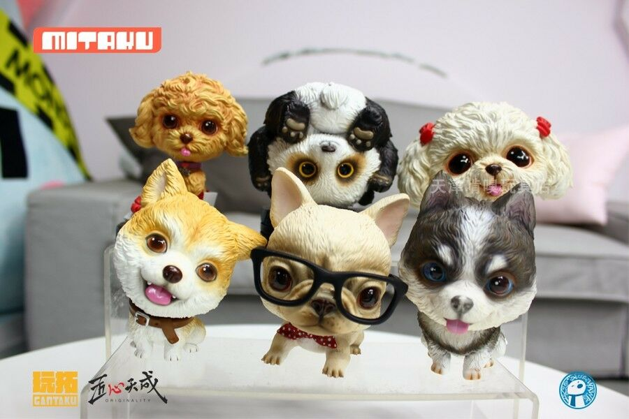 Mini Dog Animal Siberian Husky/Akita/Bulldog Pet Model Toy Scene Accessory