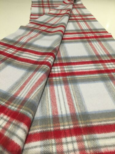 Johnstons of Elgin Stewart Purple Red Natural Tone Check Pure Cashmere Scarf New