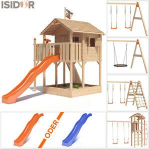 ISIDOR Killimando Spielturm Baumhaus Schaukel Kletterturm Rutsche 1,5 m Podest