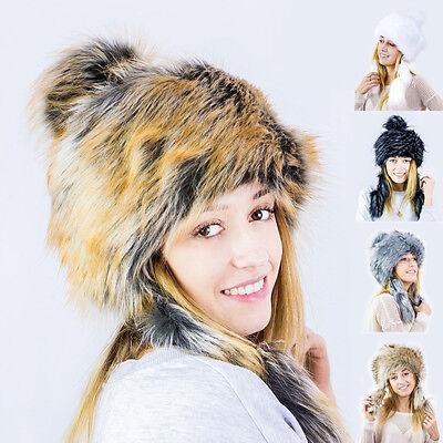 Futrzane Faux Fox Fur Winter Mongolian Hat Women Trapper Russian Style Cossack