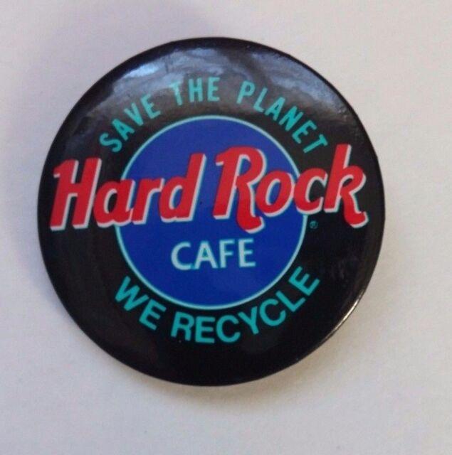 Hard Rock Cafe Pin back Button Black Save the Planet We Recycle Pin Souvenir 1.5