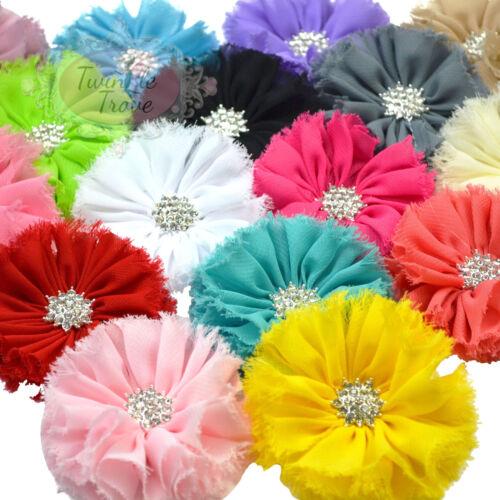 7cm Diamante Frayed Ruffled Hair Flowers Clips Grips Bobbles Bridesmaid Bridal