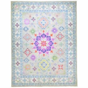 Hand-Knotted Fine Colorful Geometric Kazak Design Wool Rug 9.2 X 11.7 Cwral-7440